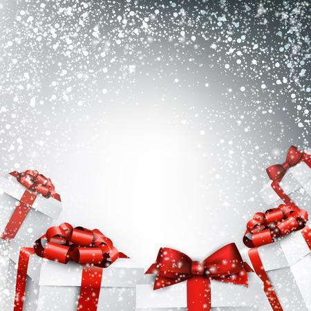 Kerstmis abstracte illustratie. Vakantie achtergrond met geschenkdozen. Vector.