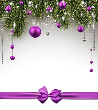 decor: Winter background with spruce twigs and purple baubles. Christmas vector frame. Eps10.