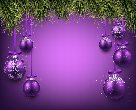 Abstract background with purple christmas balls. Vector illustration. Illustration