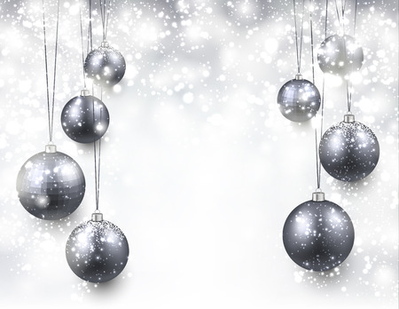 silver background: Abstract background with silver christmas balls. Vector illustration. Illustration