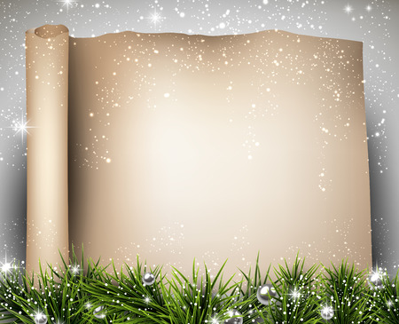 twigs: Winter old paper background with fir twigs. Christmas vector illustration. Eps10.