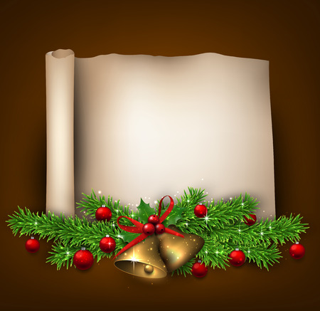 twigs: Winter old paper background with fir twigs and red baubles. Golden bells. Christmas vector illustration. Eps10. Illustration