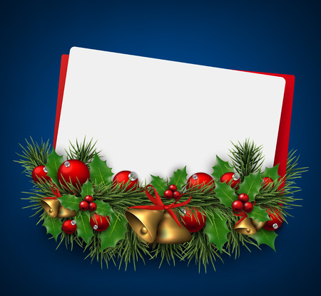 Paper card background with fir twigs and red baubles. Red bells. Christmas vector illustration. Eps10. Vector