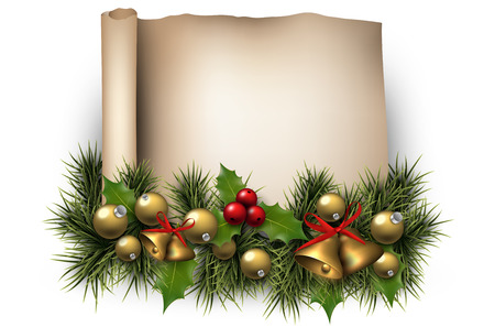 Winter old paper background with fir twigs and golden baubles. Golden bells. Christmas vector illustration. Eps10. Vector