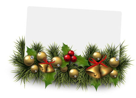 Paper card background with fir twigs and golden baubles. Jingle bells. Christmas vector illustration. Eps10. Vector