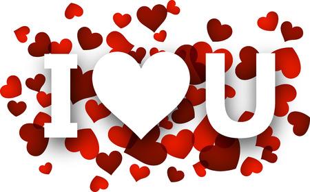 i love u: Blanc i love u signe sur les c?urs rouges. Vector illustration jour f�ri�.