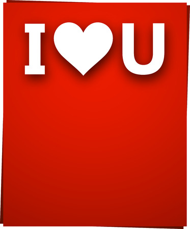 i love u: Blanc i love u signe plus rouge carte de papier. Vector illustration jour f�ri�.