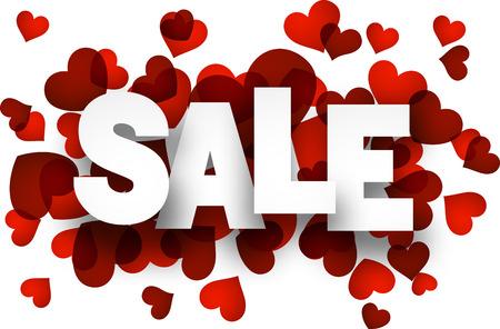 Weiß Verkauf Zeichen auf roten Herzen Hintergrund. Vector Urlaub Illustration. Standard-Bild - 35379688