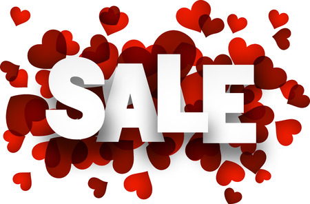 sales person: White sale sign over red hearts background. Vector holiday illustration.