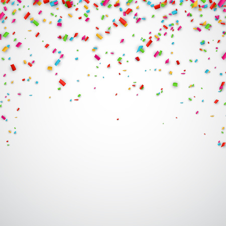 Colorful celebration background with confetti. Vector Illustration. Stock Illustratie