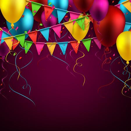 Celebrate sfondo. Bandiere del partito con i coriandoli. Palloni realistici. Illustrazione vettoriale.