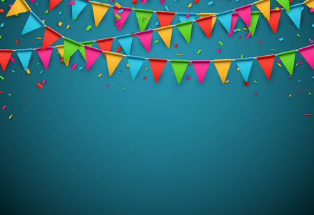 green banner: Celebrate banner. Party flags with confetti. Vector illustration.