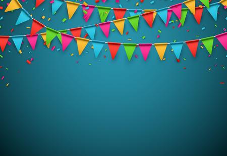 Vier banner. Partij vlaggen met confetti. Vector illustratie. Stock Illustratie