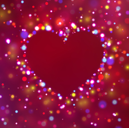 Heart shape with sparkles. Glitter vector background. Vector