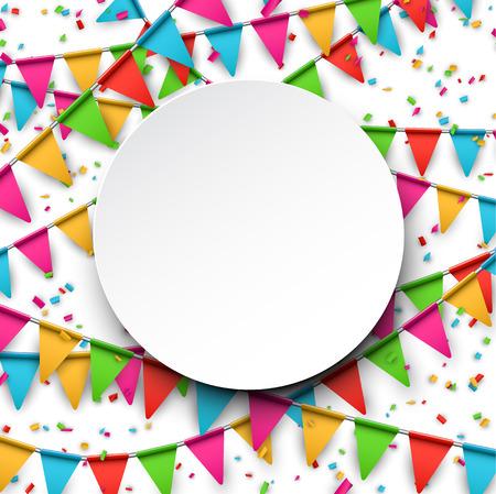 felicitaciones cumplea�os: Colorido fondo de la celebraci�n con confeti. Ilustraci�n del vector.