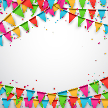 Celebrate background. Party flags with confetti. Vector illustration.