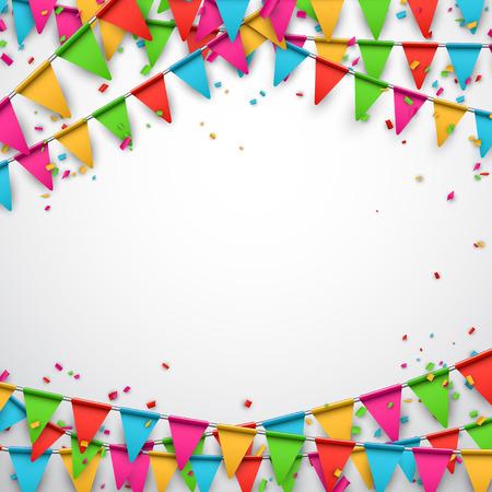 celebra: Celebre el fondo. Banderas del partido con confeti. Ilustraci�n del vector. Vectores