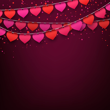 valentines: Celebrate banner. Love party heart flags with confetti. Vector illustration. Illustration