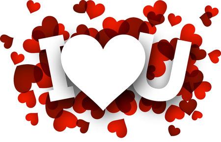 i love u: Blanc i love u signe sur les c?urs rouges
