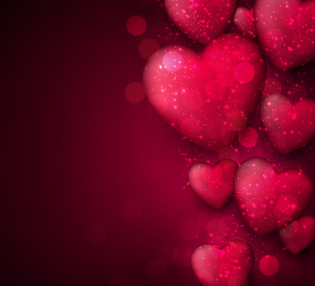 Pink valentine\'s background with 3d hearts  イラスト・ベクター素材