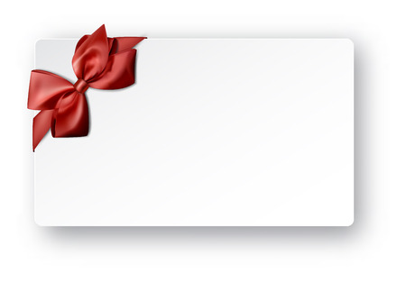 christmas bow: Gift card with ribbon and satin red bow Illustration