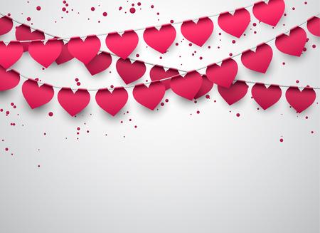 saint valentin coeur: Amour drapeaux cardiaques parti avec des confettis Illustration
