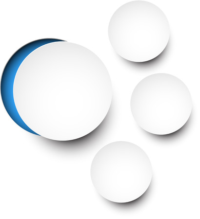 notched: illustration of white paper notched out round bubbles Illustration