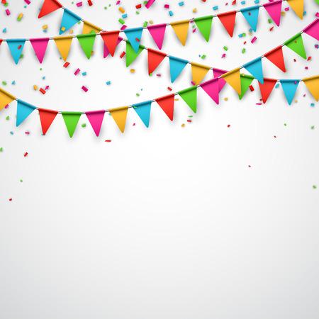 Празднуйте фон. Вечеринка флаги с конфетти. Векторная иллюстрация.