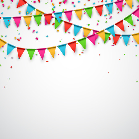 triangular banner: Celebrate background. Party flags with confetti. Vector illustration.