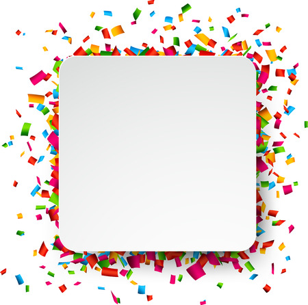 Kleurrijke viering achtergrond. Papier tekstballon met confetti. Vector Illustratie. Stock Illustratie