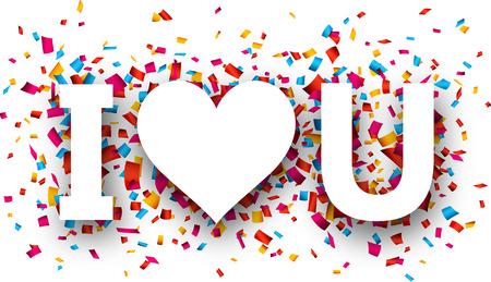 i love u: Blanc I love u signe sur fond de confettis. Vector illustration jour f�ri�. Illustration
