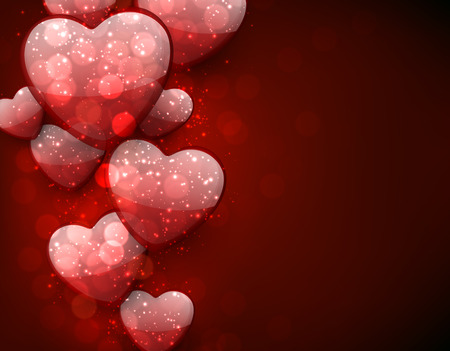 Red valentines background with 3d hearts. Vector illustration. Vector