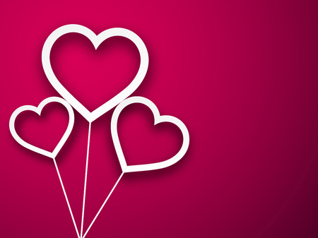vector hearts: Vector illustration of paper balloon hearts. Magenta abstract love background.