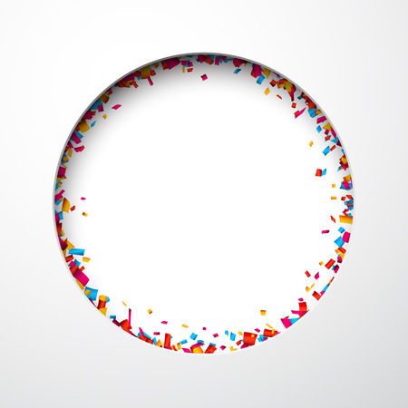 celebrate: Colorful celebration background with confetti. Hole in paper. Vector Illustration.
