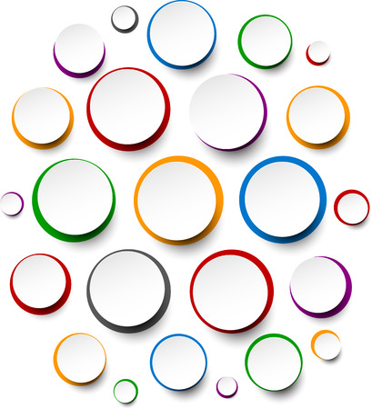 Vector illustration of white paper round bubbles over colorful circles. Eps10. Vector
