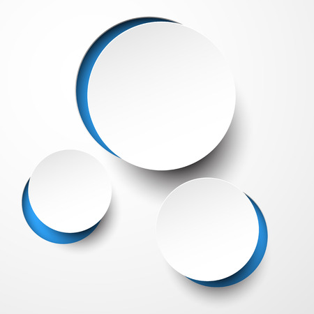 layout design template: illustration of white paper notched out round bubbles.