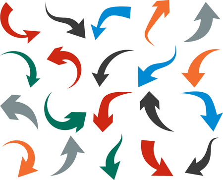 illustration of curved color arrow icons. Vector