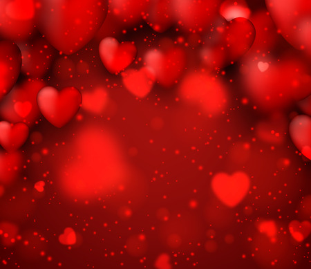 Red valentines background with defocused hearts. Vector illustration. Vector