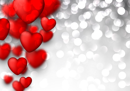 Glitter valentines background with 3d hearts. Vector illustration. Vector