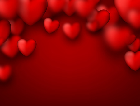 vector hearts: Red valentines background with 3d hearts. Vector illustration.