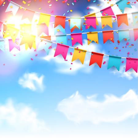Comemore bandeira bandeiras do partido com confetes sobre o céu azul.