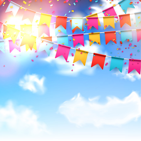 Celebrate banner Party flags with confetti over blue sky.
