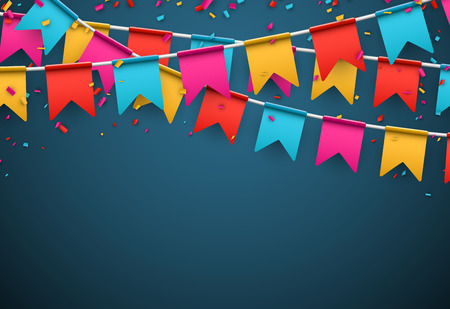 Vier banner Party vlaggen met confetti. Stock Illustratie