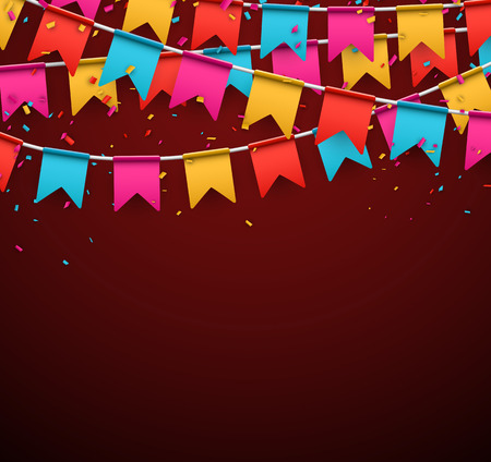 Celebrate banner. Party flags with confetti. Vector illustration. Фото со стока - 36472195