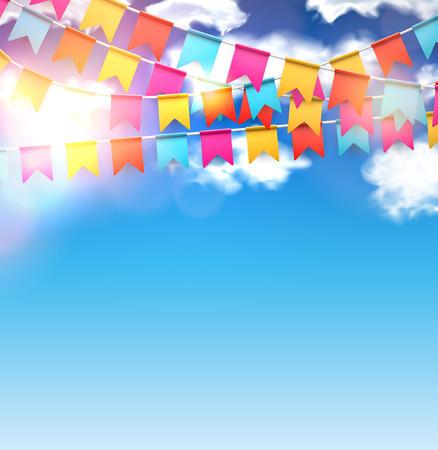 Célébrez bannière. drapeaux du Parti avec des confettis sur le ciel bleu. Vector illustration. Vecteurs