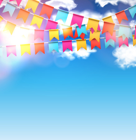 Celebrate banner. Party flags with confetti over blue sky. Vector illustration. Vettoriali