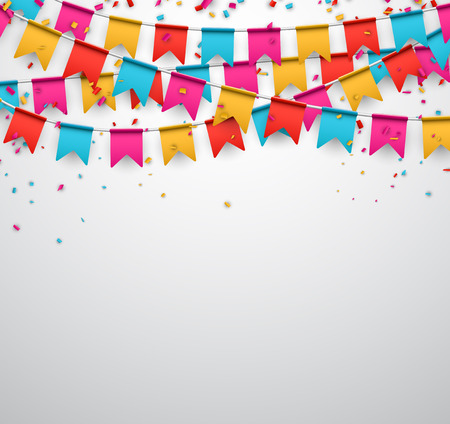 fun: Celebrate banner. Party flags with confetti. Vector illustration.