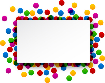 Colorful celebration background with round confetti. Vector Illustration. Çizim
