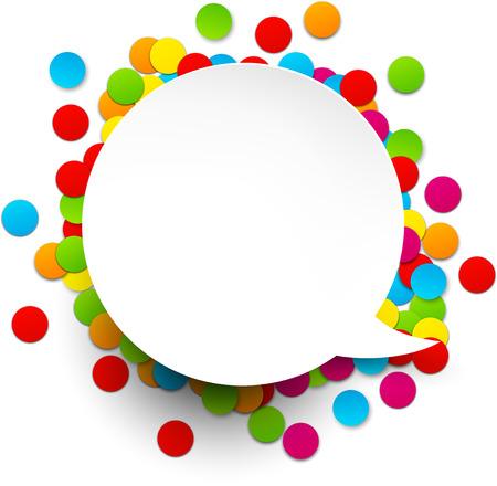 marcos redondos: Colorido fondo de la celebraci�n. Burbuja de papel del discurso con confeti. Ilustraci�n del vector.