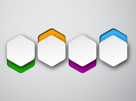 Vector illustration of white paper hexagonal bubbles. Infographics design. Vector